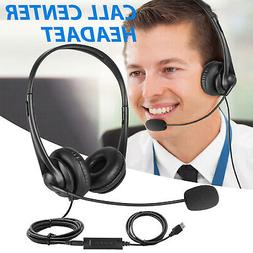 USB Wired Headset Computer Headphone + Microphone Noise Canc