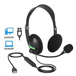 USB Wired Headset Computer Headphone+Microphone Noise Cancel