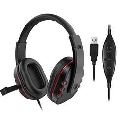 LESHP USB Wired Headphone with Stereo Micphone Fashion Gamin
