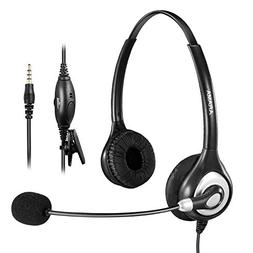 Arama Cell Phone Headset with Noise Canceling Boom Mic and A