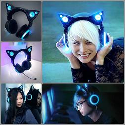Wired Cat Ear Headphones With speakers Detachable Mic Audio