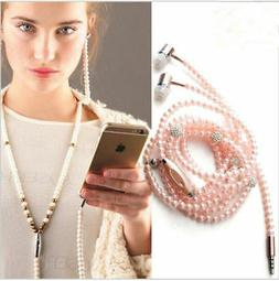 Wired Jewelry Pearl Necklace Earphones Headphone Headset Bea