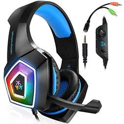 Xbox One Gaming Headset for PS4,PC,LED Light On Ear Headphon